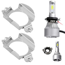 Pair H7 LED Headlight Bulb Adapter Retainer Holder For Mercedes Benz Ford Silver