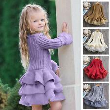 New Kids Autumn Ruffled A-Line Stylish Children Dress Baby Girl Dress Sweater