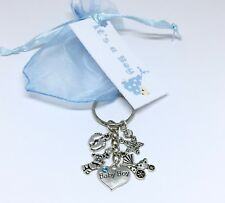Baby Shower Boy Keyring Pregnancy Gift Mum to be tag favour christening baby boy