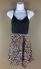 Olivaceous Party Club Dress Size S Faux Leather Leopard Print Chain Skater Sexy