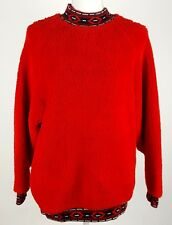 Parrinello Womens One Size Fits All Fuzzy Vintage Sweater Red Long Sleeve EUC