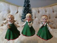 Vintage Lefton Christmas Angel set (3) #KW4836