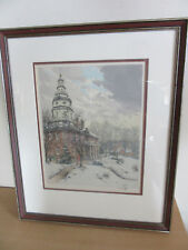"""Hans Figura """"State House, Annapolis MD"""" Signed color artist proof etching"""