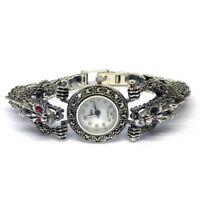 VIDEO! UNIQUE DRAGON HEADS DESIGN 925 STERLING SILVER MARCASITE WOMENS WATCH