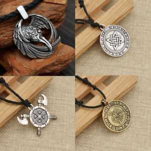 Vintage Norse Viking Axe Wolf Head Pendant Rune Necklace Silver Men's Jewelry