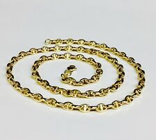 """14k Yellow Gold Anchor Mariner Chain Necklace 4.5MM 12 grams  24"""""""