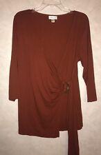 Coldwater Creek Wrap Shirt Orange Size Medium M