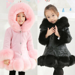 Kids Girls Winter Quilted Coat Jacket Puffer Faux Fur Hooded Long Coat New Parka