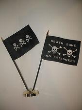 "Chris Condent w/ Death Zone Pirate Flag 4""x6"" Desk Set Table Stick Gold Base"