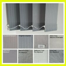GREY GRAPHITE CHARCOAL Vertical blind SLATS - 89mm plain / washable or blackout