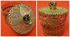 Vintage Chrome Potpourri Trinket - Jewelry Container With Rose Petal Lid Handle