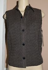WORTH NY Solid Cabor Brown Cotton Blend Smocked Stretch Snap Down Vest sz S NWT