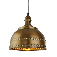 Searchlight Vintage Industrial Antique Brass Studded Shade Ceiling Pendant Light