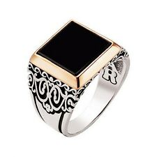 UNIQUE! Turkish Ottoman ONYX STONE 925 K STERLING SILVER MEN'S RING SZ 6 to 14