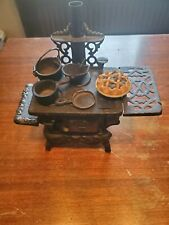 Vintage Cast Iron American ATF Wood Stove - Salesman Sample/Toy With Accessories