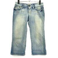 BKE Crop Vintage Wash Capri Jeans Womens SIze 27 Blue Medium Wash Distressed