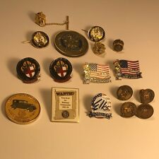 AMERICAN LEGION MASONIC VETERAN PINS MEMORABILIA JEWELRY PINBACKS LOT COINS FLAG