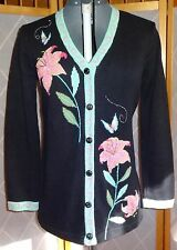 STORYBOOK KNITS S Black Sequined Beaded Lily Flowers Cardigan Sweater