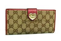 Auth Gucci GG Brown Beige Leather Woman Heart Continental Long Wallet Italy 3661