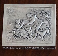 - GERMAN 800 SILVER HINGED SNUFF OR PILL BOX: REPOUSSE PASTORAL SCENE TO LID
