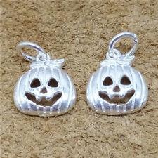 4 Sterling Silver Pumpkin Charms 925 Silver Halloween Pendants for Bracelet
