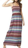 Sizes 10 - 24 Ladies Long Maxi Aztec Stretchy Dress Full Length