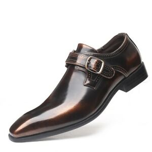 Mens Business Casual Square Toe Oxfords Formal Faux Leather Buckle Dress Shoes