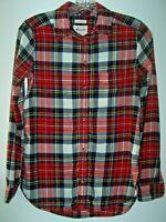 American Eagle Ahh-Mazingly Soft Boyfriend Fit Flannel Shirt Red Plaid Women XXS
