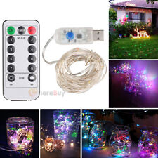 5M 50LED Party Wedding Curtain Fairy Lights USB String Light Home w/Remote Lamp