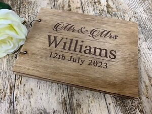 Personalised Wedding Guest Book Christening Memorial Scrapbook Album Wooden