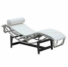 LE CORBUSIER LC4 CHAISE WAVE LOUNGE CHAIR WHITE TOP GR. LEATHER STAINLESS FRAME