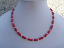 Beads and Clear Czech Glass Spacers Handmade Short Necklace Genuine Red Coral