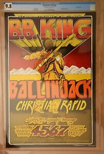 Original BB KING 1970 Filmore West concert Poster signed by artist CGC 9.8 Mint