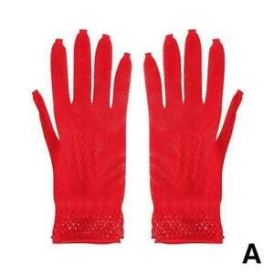 1pair Fish Net Glove - White / Black / Red / Beige Party Use Evening - B9L