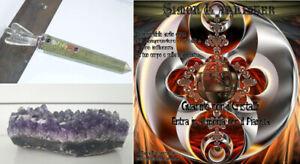 SET GUARIGIONE AURA bacchetta cristallo CD CORSO 15 pietre DRUSA ametista quarzo