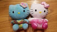 Hello Kitty Plush toys Sanrio Lot Of 2 Ty Pink Blue Doll Stuffy Stuff Animal Bow