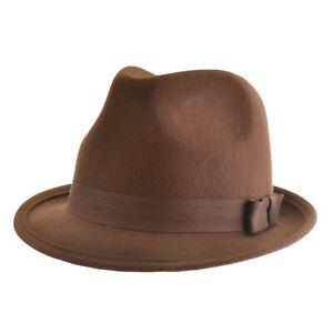 VTG 40s/50s Style Felt Trilby Hat BNWT/NEW 100% Wool Gangster Fedora S/M/L
