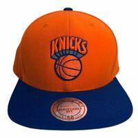 Mitchell & Ness Script NY New York Knicks Snapback Hat Royal Blue orange Cap NBA