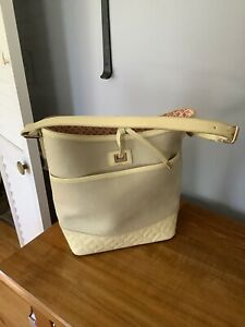 SPARTINA 449 Beige Linen Canvas & Cream Patent Leather Shoulder Tied Bucket Bag