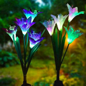 Solar Powered Lily Flower LED Lights Garden Stake Lamp Yard Outdoor Decoration