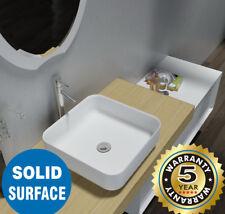 Above Counter Square Solid Surface Stone Vanity Wash Basin Matt White bathroom c