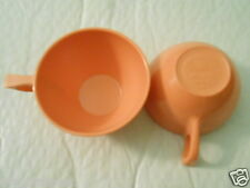 3 VTG Sun Valley Melmac Coffee Tea Cups - Peach / Salmon Pink - Made In The USA