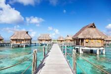 Bora Bora Overwater Bungalows in the Lagoon Photo Art Print Poster 24x36 inch