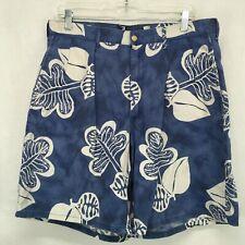 VTG Polo Ralph Lauren Mens 32 Shorts Blue Floral Tie Dye Cotton Linen Blend USA