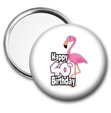 Pink Flamingo Pocket Mirror 40th Birthday Gift