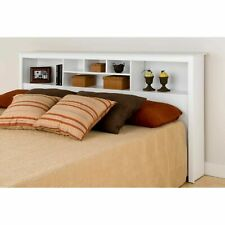 Modern KING Size White Bookcase Headboard Bed Bedroom Wood Furniture Storage