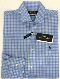 Polo Ralph Lauren Blue Plaid Classic Fit Dress Shirt Long Sleeve Stretch $98