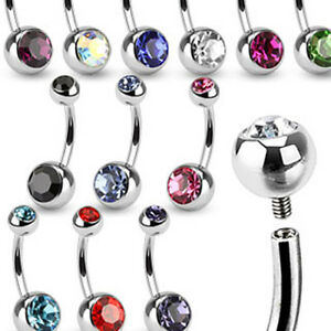 Belly Button Piercing inside Thread Banana Double Jeweled Zirconia Crystal Stone