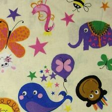 Cream 100% Cotton Fabric with Childrens Animals & Shapes (Per Metre)