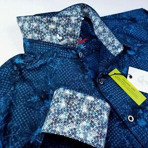 ROBERT GRAHAM Floral Crystal Medallion Check Print XL Teal Blue Sports Shirt